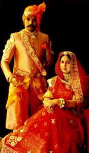 Kunwar Pushpendra Singh of Ajabgarh with his wife Kunwrani Ishani Kumari of Surendra Nagar (Ajabgarh)